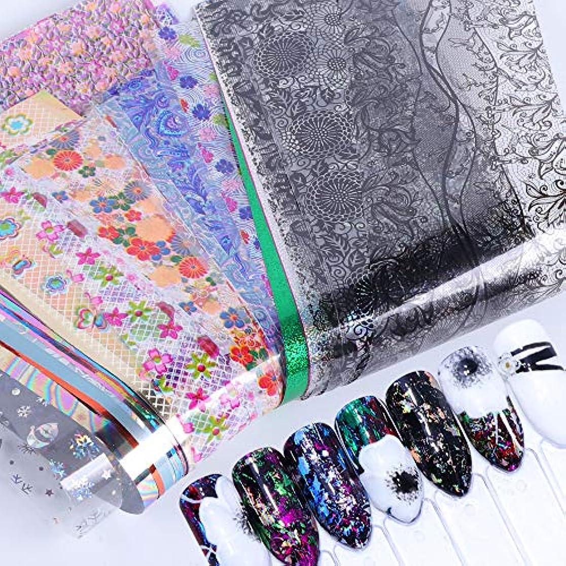 変装した特異なドキュメンタリー50個星空スカイスターズネイルアートステッカーのヒントラップ箔転写接着剤グリッターアクリルDIYの装飾(ランダムカラーパターン)