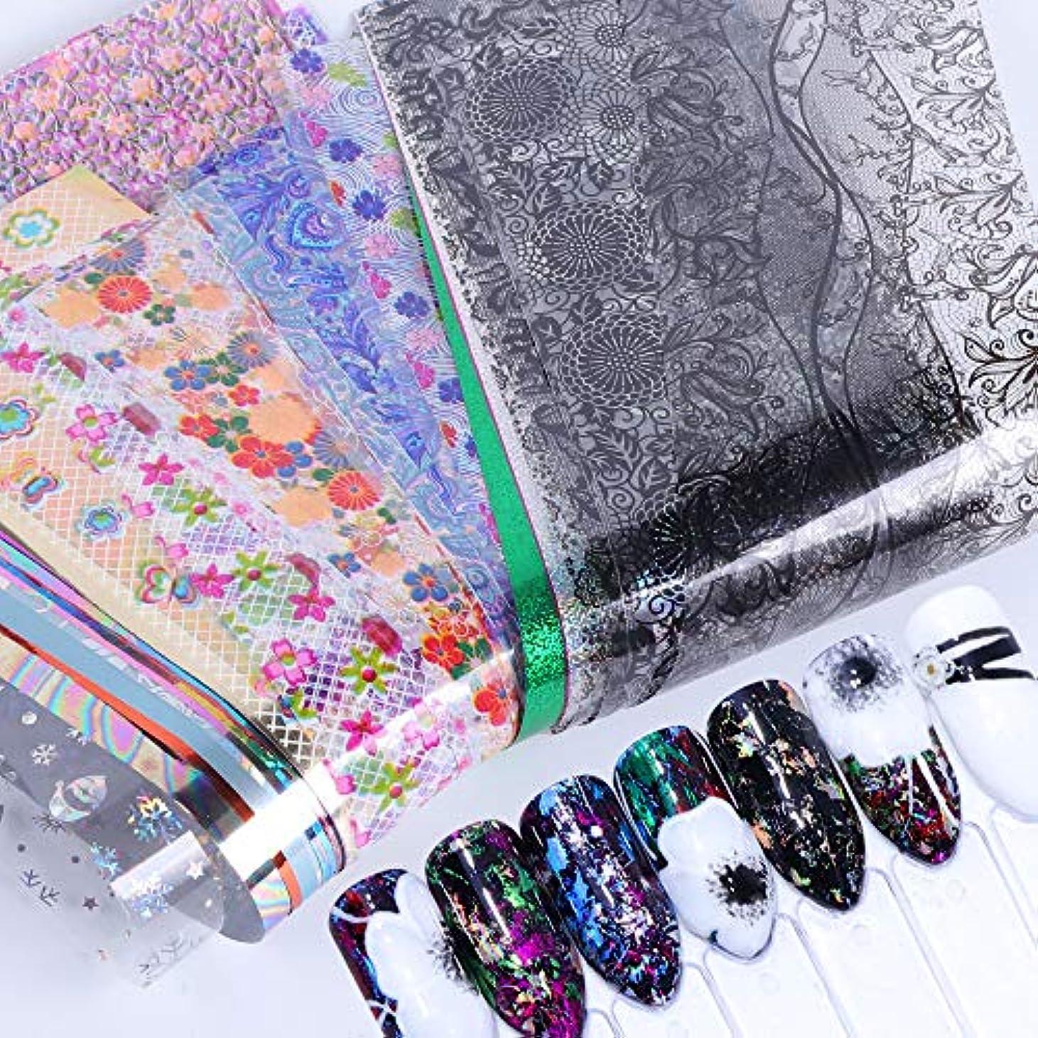 ケーブルカー何かあごひげ50個星空スカイスターズネイルアートステッカーのヒントラップ箔転写接着剤グリッターアクリルDIYの装飾(ランダムカラーパターン)