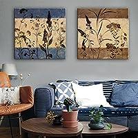 E-HOME キャンバスセット靑い ブラウン ベージュ 花柄/植物の 欧風,2枚 キャンバス 四角形 版画 壁飾り画, 絵を飾る ハンギング絵画 、ベッドルームの装飾,For ホームデコレーション,リビングルームに絵を飾る 印刷画 (50x50cmx2pc)