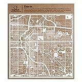 デンバー切り絵地図、白、30x30センチ、オリジナルデザインペーパーアート、アイデアギフト