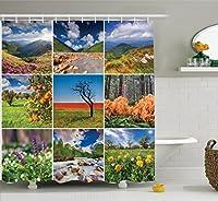 アパートインテリアシャワーカーテンセットby Ambesonne、コラージュwith夏景色Majestic Waterfalls山高Lands環境装飾、バスルームアクセサリー、69W x 70lインチ、マルチ