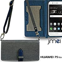 P9 lite カバー JMEIオリジナルカルネケース VESTA & ロングストラップ グレー HUAWEI ファーウェイ simフリー 携帯 p9 ライト スマホカバー スマホケース 手帳型 ケース ショルダー スマートフォン