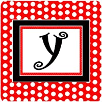 "Caroline 's Treasures cj1012-yfc monogram-redブラックPolka Dots Foam Coasters ( Set of 4)、文字Y初期、3.5"" H x 3.5"" W、マルチカラー"