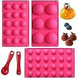 Webake Silicone Round Sphere Baking Mold Set of 3, Hemisphere Molds For Chocolate Candy, Jello, Mousse, Cake Decoration, LFGB