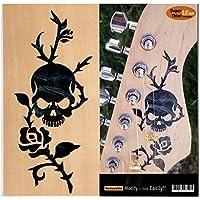 Jockomo Rose & Skull 薔薇 スカル/BP ギターやベースのボディに。 本物の貝みたいな インレイステッカー