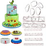 Dinosaur Molds Set - Fluffy Fondant Cloud Cutter,Flame/Wave/Grass/Icicles Cutter and Dinosaur Cookie Cake Plastic Embossing M