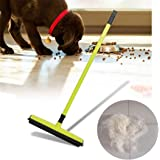 Rubber Broom Bristles Sweeper Squeegee Scratch for Pet Cat Dog Hair Carpet Hardwood Windows Clean (Yellow)