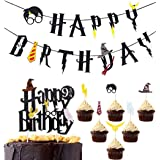 Awyjcas Harry Potter Happy Birthday Banner Cake Topper Party Supplies, Happy Birthday Harry Potter Cupcake Toppers Themed Par