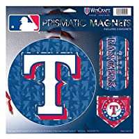 "Texas Rangers MLB Prismatic 3 Different Die Cut磁石on Single 11 "" x 11 ""シートマグネット"