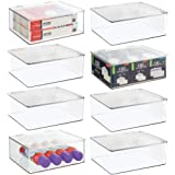 mDesign Plastic Stackable Home, Office Supplies Storage Organizer Box with Attached Lid - Holder Container Bin for Note Pads,