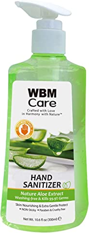 WBM Care Hand Sanitizer With Natural Aloe Extract,Pump Bottle,Skin Nourishing,10.6 Fluid Ounce