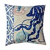 sunlightsellスタイリッシュなシンプルさ地中海スタイルコットンリネン正方形装飾ファッションスロー枕カバークッションカバー( b8)
