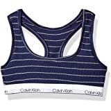 Calvin Klein Big Girls' Rib Crop Bralette, ck Navy Stripe, X-Large (14/16)
