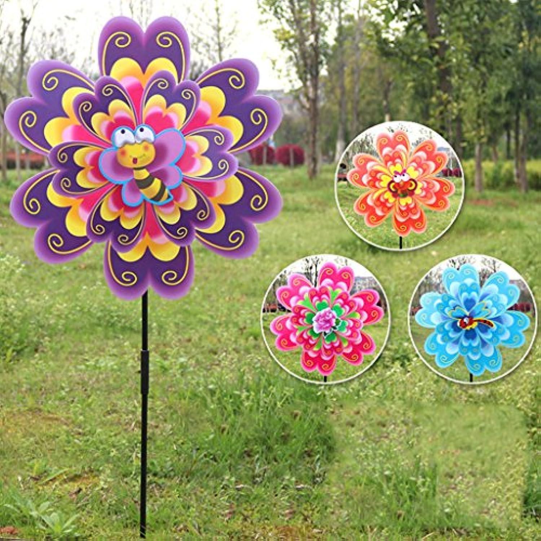 Dabixx 風のスピナー, ダブルレイヤフラワー風車風スピナーピンウィールキッズおもちゃヤードガーデン装飾 - 色はランダムに