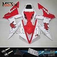 MSX-moto 適応ヤマハ Yamaha YZF1000 YZF 1000 02-03 R1 2002 2003年 外装パーツセット ABS射出成型完全なオートバイ車体 赤/レッド&白/ホワイトのボディ