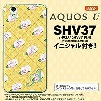 SHV37 スマホケース AQUOS U ケース アクオス ユー イニシャル 花柄・バラ(J) 黄 nk-shv37-265ini V