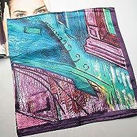 "JXBEAUTY 35.4"" Silk Scarf Square Large Women's Satin Headscarf Headdress,Classic Cafe Oil Painting Pattern"