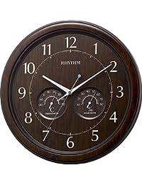 リズム時計 掛け時計 アナログ オルロージュインフォートM38 温度 ・ 湿度 計付 茶 RHYTHM 8MGA38SR23
