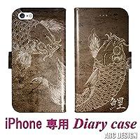 ARC DESIGN iPhone6、iPhone6S 機種専用 手帳型 スマホケース 80078-bl iPhone Xperia Galaxy AQUOS ARROWS スマートフォン フリップ ブックレット ダイヤリー 和柄 コイ 鯉 グランジ ブラウン