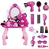 JYSPEN Kids Make Up Kit Girls Pretend Play Toys Vanity Table Set Dresser Playset Fashion Beauty Salon Cosmetic Set with Acces