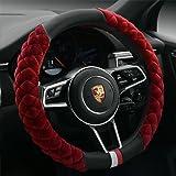 Cxtiy Universal Car Steering Wheel Cover Fluffy Winter Plush Steering Wheel Cover (A-Wine red)