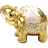 Honoro Unique Windproof Ashtray with Lid,Metal Elephant Cigarettes Ashtray for Outdoor Indoor,Vintage Ashtray for Home Office