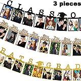 Yaomiao 卒業式写真バナー パーティー用品 金色の卒業式バナー ブラッククラス2019フォトバナー 卒業パーティー用12グレードフォトバナー 3スタイル 3ピース