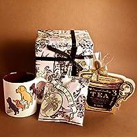 cafe,q カフェック、ストロベリーピンク チョコレート & フレーバーティー & サヴィニャック マグカップ(犬)セットギフト