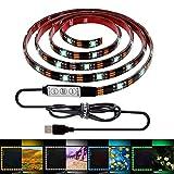 ALOTOA テレビUSBテープライト 150CM 5V 、テレビバックライト PC照明 RGB20色 装飾的なライト USB接続 両面テープ 正面発光 切断可能 防水仕様 日本語説明書付き