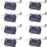 CESFONJER SPDTマイクロリミットスイッチ、ロングストレートヒンジレバー、プッシュボタンモーメンタリアクチュエータ(8 PCSロングヒンジレバー)