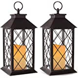 """Bright Zeal 14"""" Tall Vintage Candle Lantern with LED Flickering Flameless Candles and Timer (Distressed Bronze) - Indoor Outd"""
