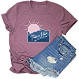 HDLTE Women Sunrise Take a Hike T Shirt Funny Mountain Graphic Camping Lover Short Sleeve Tees