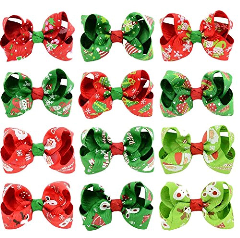 Youkara クリスマス ヘアピン 子供 ヘアクリップ ベビー リボン クリップ ギフトにぴったり 理想的な子供ヘアバンド 誕生日 プレゼント 12色をミックス (C)