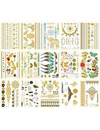 WeltHause タトゥーシール キラキラ 15枚セット ゴールド シルバー メタルく 刺青シール ボディーシール レディース