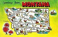 モンタナ–状態のロードマップを、Greetings From 24 x 36 Giclee Print LANT-20097-24x36