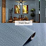 Yancorp Faux Grasscloth Peel Stick Wallpaper Fabric Self-Adhesive Contact Paper Linen Removable Fireaplace Kitchen Backsplash Wall Stickers Door Sticker Counter Top Liners, Blue