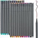 24 Fineliner Colour Pens Set, Taotree 0.38mm Fine Line Coloured Sketch Writing Drawing Pens for Bullet Journal Planner Note T