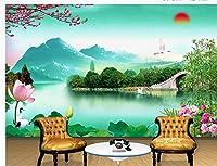Wapel 横長の壁紙の壁画の梅竹 lotus ホームデコレーション 3 d 壁紙 絹の布 250x175CM