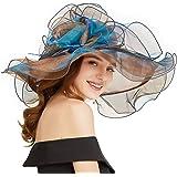 FADVES Women Oganza Sun Hat Church Kentucky Derby Wide Brim Wedding Formal Hat
