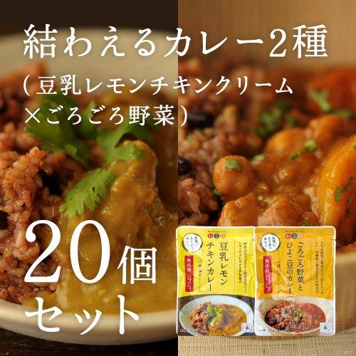 結わえる カレー2種(豆乳レモンチキンクリーム×ごろごろ野菜)20個セット