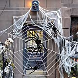 TUPARKA 4Pcs Halloween Spider Decorations , Including 3 Pcs Giant Hairy Spiders, 11ft Huge Round Halloween Spider Web for Halloween Party Indoor Outdoor Decorations