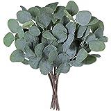 "SUPLA 10 Pcs Fake Eucalyptus Leaves Stems Bulk Artificial Silver Dollar Eucalyptus Leaves Plant in Grey Green 11.8"" Tall Wedd"