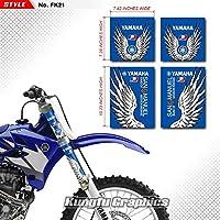 KUNGFU GRAPHICS(カンフー グラフィックス) Yamaha ヤマハ フロントサスペンション フォーク チューブ ステッカー(ブルー)
