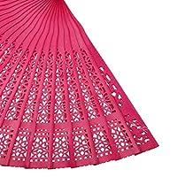 sharprepublic 扇子 中空彫刻 ハンドファン 浴衣 着物 猛暑対策 仮装 お祭り 装飾 夏の行事 携帯便利 フクシア
