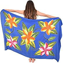 Island Style Clothing Sarong Blue RARO Hand-Painted Floral Hawaiian Beach Cover-Up + Coconut Clip (Blue Raro)