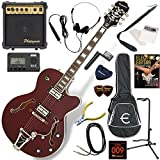 EPIPHONE エレキギター 初心者 入門 ビグスビーのトレモロユニットを搭載したフルアコ 10wアンプが入ったスタンダード15点セット Epiphone Swingster/WR(ワインレッド)