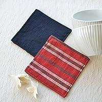 会津木綿のコースター2個セットD【クリックポストにて発送】