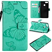 Huawei Y9 2018 Case, Moonmini [ Portable Wallet ] [ Slim Fit ] Heavy Duty Protective 男の子 Flip Cover Wallet Case for Huawei Y9 2018 - Green