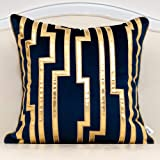 Alerfa 20 x 20 Inches Navy Blue Geometric Gold Leather Striped Cushion Cases Luxury European Throw Pillow Covers Decorative P
