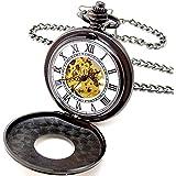 [モノジー] MONOZY 機械式 手巻き 懐中時計 - ブラック クローム ホワイト ダイアル - 両面 スケルトン ハーフハンター 【収納袋、化粧箱】 アンティーク 懐中時計